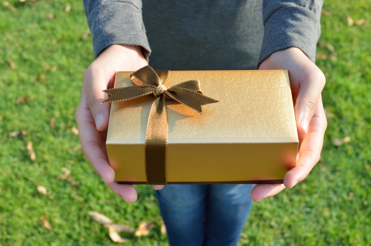 Gift box in woman's hands on green grass